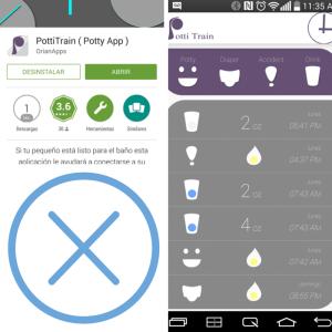 App de apoyo para el entrenamiento en el control de esfínteres.  Screen shots y funciones.
